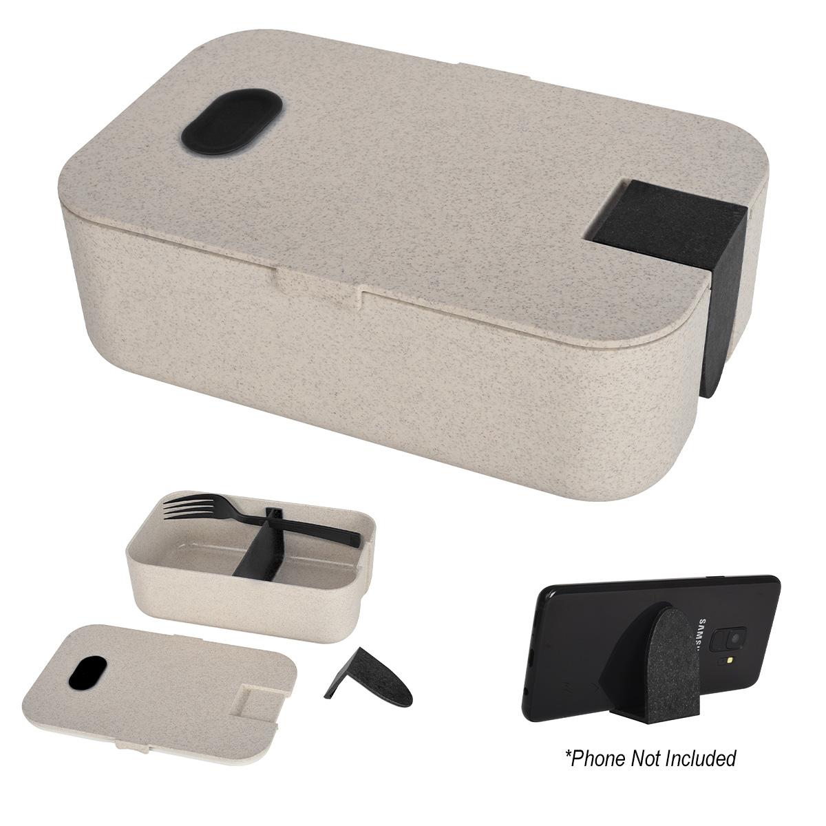 2218 - Box Lunch Ecológica con Cubiertos y Soporte de Teléfono