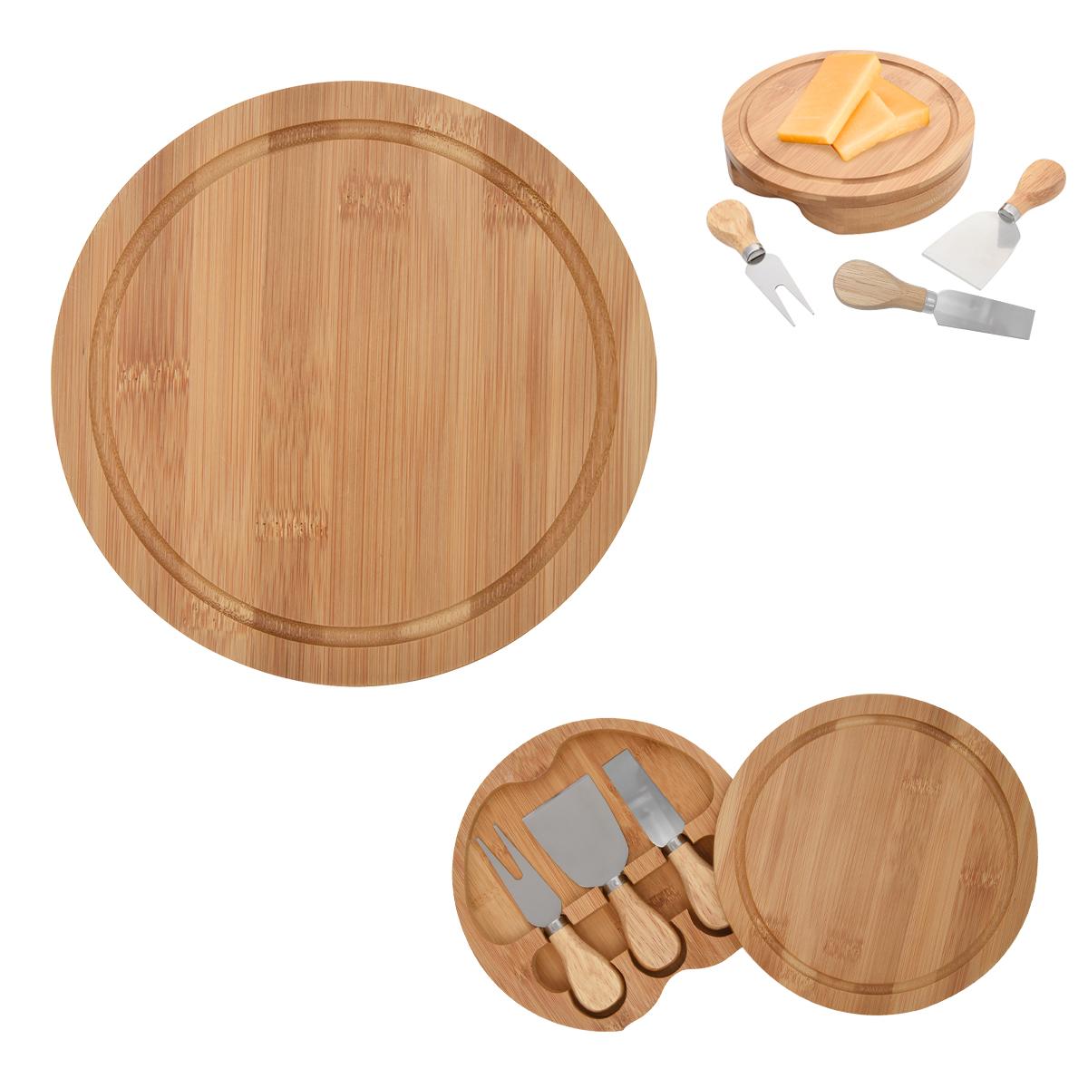 2276 - Set de 3 piezas de bambú para quesos
