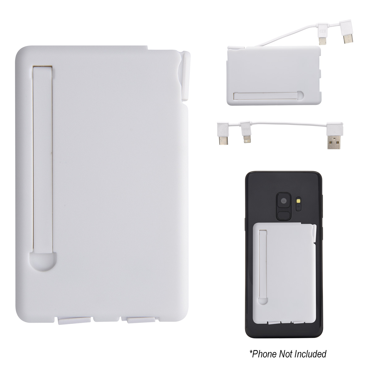 2491 - Soporte Adherible para Teléfono con Cable de Carga 3 en 1