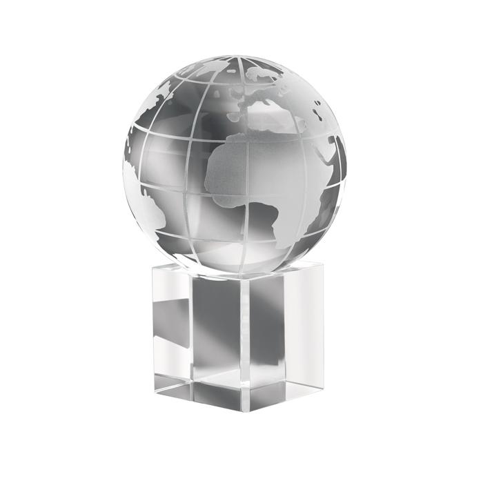 IT1537 - Pisapapeles en Forma de Globo Terráqueo de Cristal en Soporte