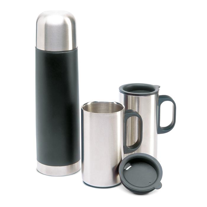 KC2694 - Set de Botella Térmica 500 ml y 2 Tazas 220 ml de Acero Inoxidable