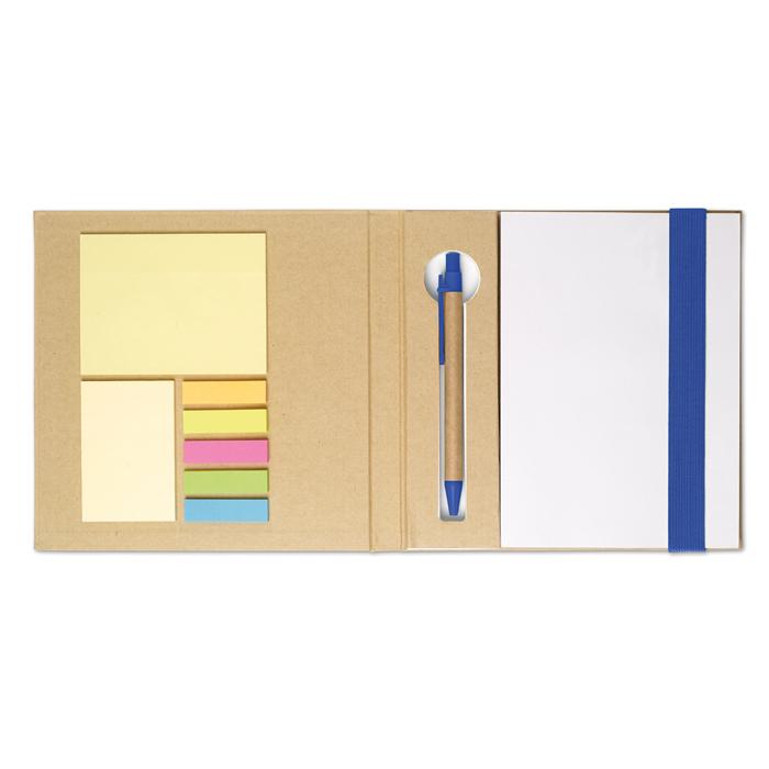 MO8183 - Portadocumentos de Material Reciclado con Notas y Banderas Adhesivas, Bloc de Notas y Bolígrafo