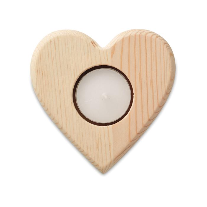 MO9377 - Portavelas Ligero en Forma de Corazón de Madera