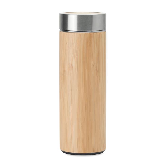 MO9421 - Termo Aislante Batumi de Acero Inxidable con Tapa de Bambú e Infusor 400 ml