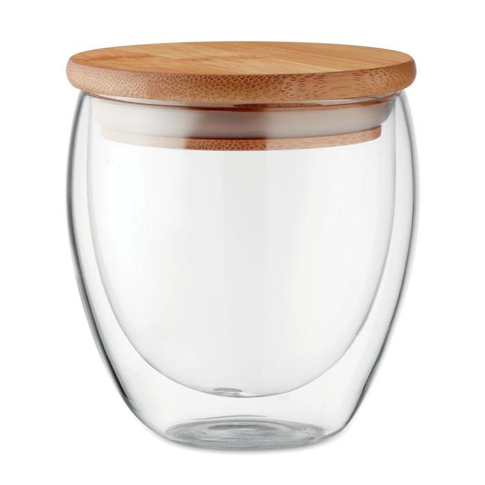 MO9719 - Vaso Ecológico de Vidrio con Tapa de Bambú 250 ml