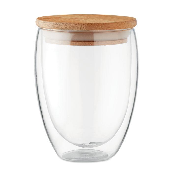 MO9720 - Vaso Ecológico de Vidrio con Tapa de Bambú 350 ml