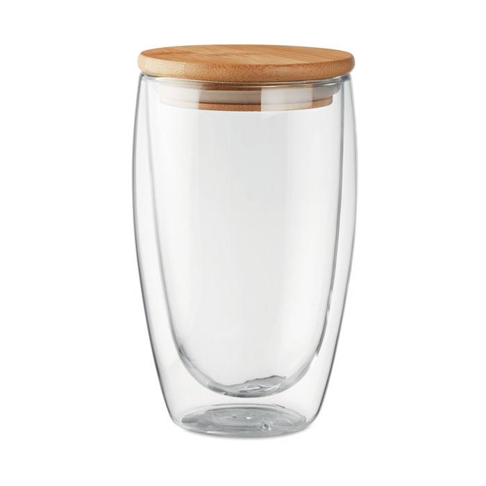 MO9721 - Vaso Ecológico de Vidrio con Tapa de Bambú 450 ml